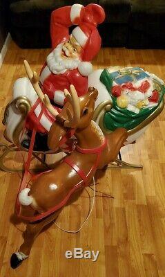 Rare General Foam Santa Sleigh Reindeer Christmas Blow Mold Light Yard Decor