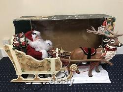 Rare Holiday Creations Animated Reindeer And Santa On Sleigh In Box Working