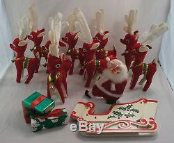 Rare Kamar Red Plush Rudolph & Reindeer & Santa on Sleigh Decoration Made Japan