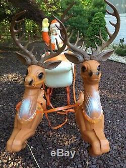 Rare Poloron Blow Mold Santa Sleigh & Reindeer 3 Piece Set Lighted, Antlers