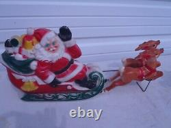 Rare Vintage Blow Mold Empire Santa In Sleigh With Two Reindeer