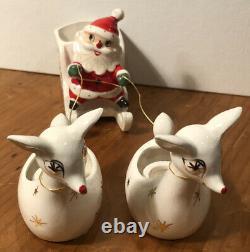 Rare Vintage Ceramic Holt Howard Santa with Sleigh & Reindeer Candleholders with Box