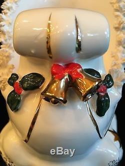 Rare Vintage Complete Set Napco Santa, Sleigh, & 3 Reindeer w Spaghetti Trim