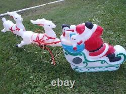 Rare Vintage Empire Santa Sleigh With Gifts & 2 Reindeer Set, Blow Mold