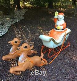 Rare Vintage Poloron Santa Sleigh & Reindeer 3 Piece Set Lighted, Reins, Antlers