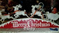 Rare Vintage Royal Santa Sleigh And Reindeers lights up
