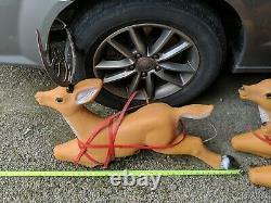 Rare! Vintage Tpi Canada Christmas Plastic Blow Molds Santa Sleigh Reindeer Set