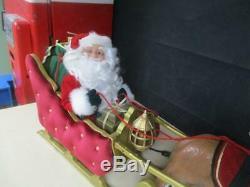Rare Vintage Trim A Home Animated Huge Christmas Reindeer & Santa On Sleigh