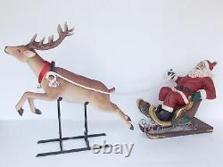 Reindeer Pulling Santa Claus in Sleigh Large Christmas Prop Display