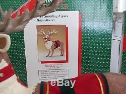 Reindeer & Santa in Sleigh Animated Musical Illuminated Holiday Creations 1994