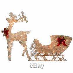 Reindeer and Santas Sleigh with LED Lights Christmas holiday outdoor Yard decor