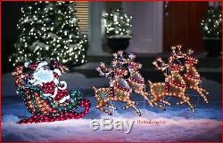 Retro Style 88 Holographic Vintage Santa Reindeer Sleigh Pre Lit Christmas Yard