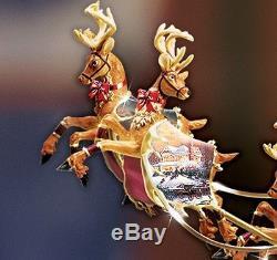 Revolving Christmas Tree Topper Santa Reindeer Sleigh