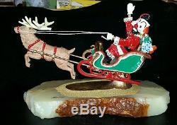 Ron Lee 1985 Clown Santa Sleigh Christmas Reindeer LARGE 11 1/2 Long 13 Lbs