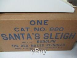 Royal Electric Christmas Light Santa Sleigh w Rudolph The Red Nosed Reindeer