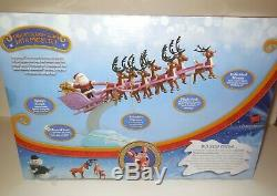 Rudolph Red Nosed Reindeer Santa's Sleigh Team with Music Set New in Box NIB