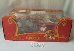 Rudolph the Red Nosed Reindeer Santa Musical Sleigh Display Stand Play Set 2009
