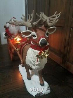 SEE VIDEO! Holiday Creation Santa On Sleigh Reindeer Animated Musical Christmas