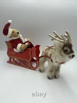 STEIFF Santa SLEIGH SET Teddy BEAR REINDEER 03352 89/90 Ltd Ed White Tags Xmas