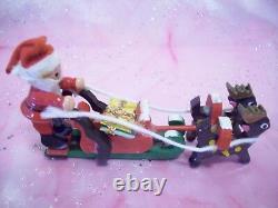 SUPER RARE VTG Japan Christmas Santa Sleigh with Reindeer Doll & Gifts Figurine