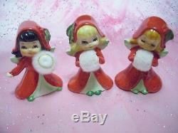 SUPER RARE VTG Ucagco Japan Christmas Santa Baby Elf Reindeer Sleigh Figurine