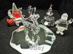 SWAROVSKI CHRISTMAS REINDEER, SANTA, SLEIGH, & TREE MIB. CHRISTMAS Clearance