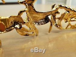 Santa Claus Tree Sleigh Reindeer Vintage MIMI DI N Christmas Figural Belt Buckle