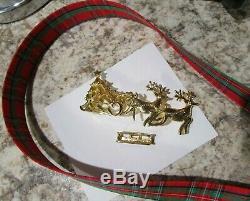 Santa Claus Tree Sleigh Reindeer Vtg MIMI DI N Lg Christmas Figural Belt Buckle