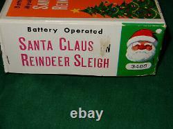 Santa Claus and Reindeer Sleigh Tin Toy with Original Box 1950's RARE MINT
