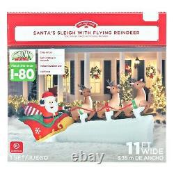 Santa Flying Reindeer Sleigh Christmas Airblown Inflatable