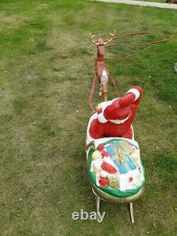Santa In Sleigh WithToys & 1 Reindeer Lighted General Foam Blow Mold Vintage