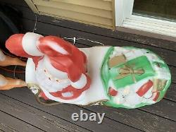 Santa In Sleigh WithToys & 2 Reindeer Lighted EMPIRE Blow Mold