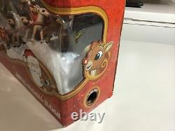 Santa Musical Sleigh Rudolph the Red Nosed Reindeer Display Stand Play Set