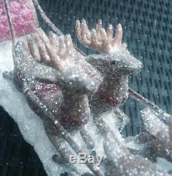 Santa Reindeer GLITTER Sleigh Christmas Decoration NEW