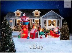 Santa Reindeer Sleigh Flight Control Tower Gemmy Christmas Airblown Inflatable