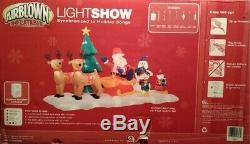Santa Reindeer Sleigh Synchronize Lightshow Gemmy Christmas Airblown Inflatable