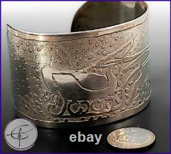 Santa Sled & Reindeer Sterling Silver 925 Bracelet Estate Jewelry Cuff Bracelet