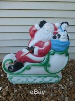 Santa Sleigh 2 Reindeer Lighted Blow Mold Yard Decoration Vintage RARE