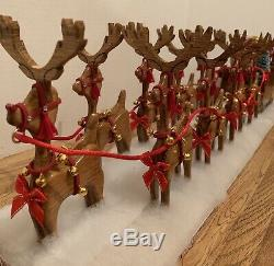 Santa Sleigh And 9 Reindeer Lighted Hand Crafted Made From Solid Oak One Of A Ki