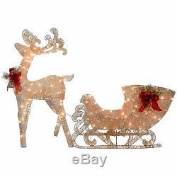 Santa Sleigh Christmas Decorations Clearance Sale Reindeer LED Lights Home Yard