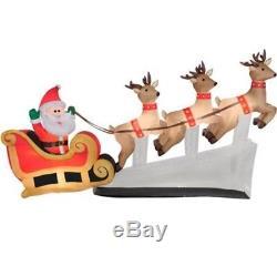 Santa Sleigh Reindeer 6' Floating Airblown Inflatable Christmas Prop Decoration