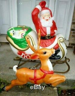 Santa Sleigh & Reindeer Blow Mold Set Empire Lighted Vintage Decor