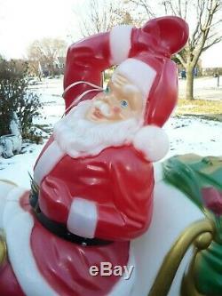 Santa Sleigh & Reindeer Blow Mold Set Lighted Vintage Decor