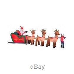 Santa Sleigh Reindeer Inflatable Christmas Decorations Outdoors Season Holiday