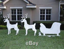 Santa Sleigh Reindeer Set Christmas Outdoor Yard Decor 2 Vintage Style Met