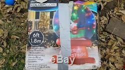Santa Sleigh Reindeer Sparkling Light Up SnowGlobe Christmas Airblown Inflatable
