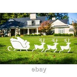 Santa Sleigh Reindeer Stake Set Outdoor Christmas Decor