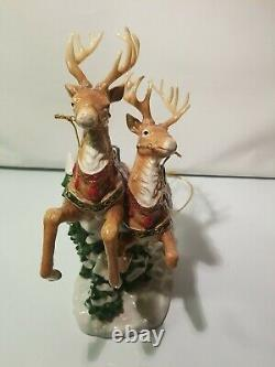 Santa Sleigh Reindeers 2 pc Porcelain Glass Christmas Vintage 2005 Home Interior