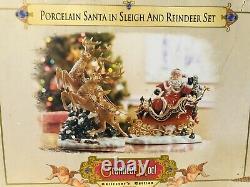 Santa Sleigh and Reindeers Set Porcelain Christmas Grandeur Noel New Vintage