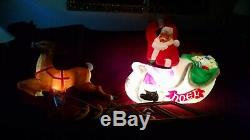 Santa Sleigh with Reindeer Lighted Blow Mold, 72 Christmas Yard Decoration, NEW